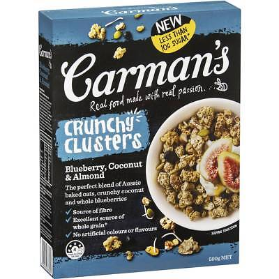 6x Carman's Blueberry, Coconut & Almond Crunchy Clusters 500g