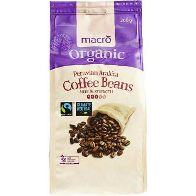 3x Macro Organic Fairtrade Coffee Beans Medium 200g