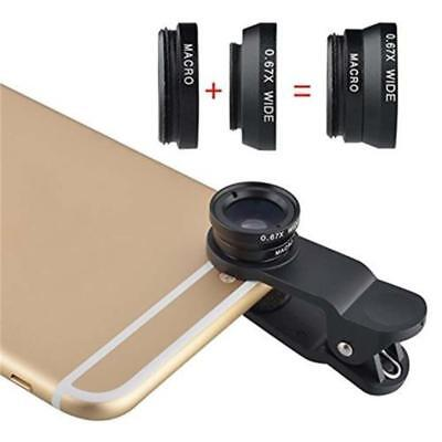 3 in 1 Fish Eye + Wide Angle Micro Lens Camera Kit for iPhone 5 4 6 6S Plus A AE