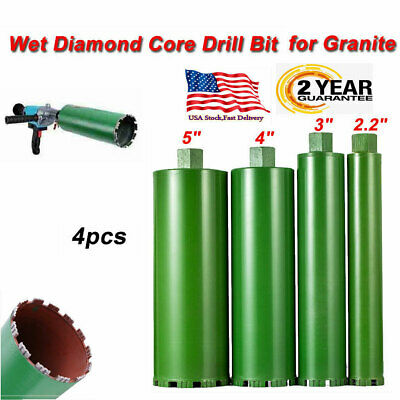 2.2'' 3'' 4'' 5''Combo Wet Diamond Core Drill Bit for Concrete Premium Green 4Pc