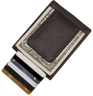 Black Leather Men's Strong Magnetic Money Clip Bill Fold Cards Holder Slim Thin