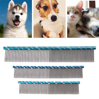Cat Dog Pet Stripe Bright Grooming Comb Stainless Steel Cleaning Hair Trimmer