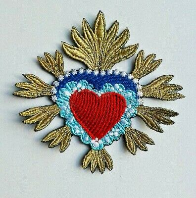 Sacred Heart Milagro Metallic Extra Quality Sew-On Embroidered Patch Applique