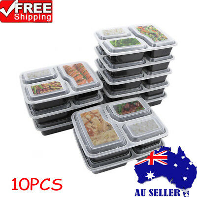 10pcs Black Reusable 1000ML BPA-Free Meal Prep Container Food Storage Lunch Box