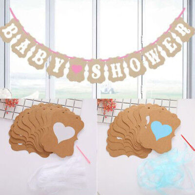 Boy Girl Baby Shower Bunting Party Banner Garland Photo Props Decor Pink Blue UK