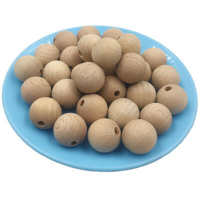 10Pcs Wooden Chewable 10-20mm Round Beech Beads Craft Jewelry Baby Teether DIY