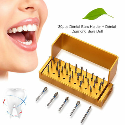 30 Dental Diamond Burs Drill + 1 Disinfection Block High Speed Handpieces Holder