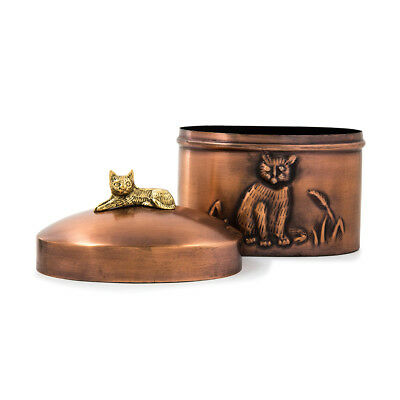 Cat Cremation Urn for ashes - One Size Copper Antique finish