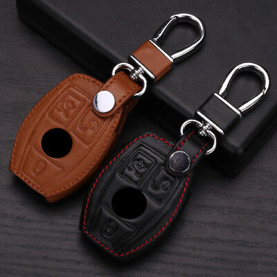 3 Buttons PU Leather Remote Key Cover For Mercedes-Benz  W203 W210 W211 AMG W204