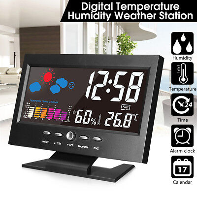 Digital Projection Weather LCD Snooze Alarm Clock Color Display LED Backlight