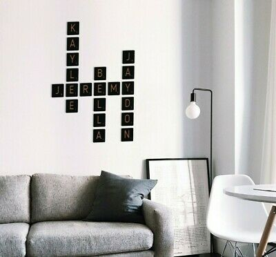 Wall Large Scrabble Tiles Letters Wood Wall Rustic Art Family Living Room Decor