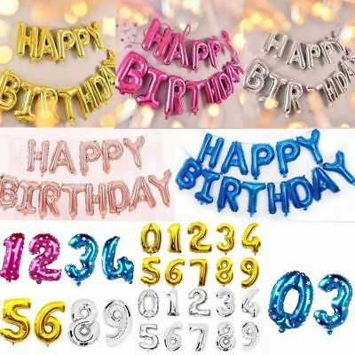 Large Happy Birthday Self Inflating Balloon Letter+ Number 0-9 Banner Party Foil