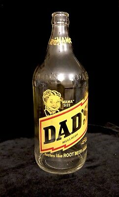 VTG MAMA Size Dads Family Root Beer EUC Rare Clear Glass 1 Qt Bottle CLEAN! #1