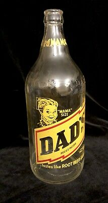 VTG MAMA Size Dads Root Beer Rare Clear Glass 1 Qt CLEAN! #2 Unusual Air Bubble