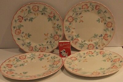 Churchill Side Plates 4 Pink Floral  Bread Entree Scallop Rim England Vintage *