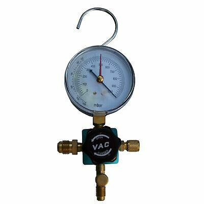 SINGLE Manifold block, black handle, vacuum gauge