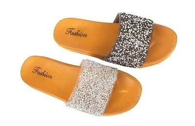 Ladies Womens Girls Summer Party Casual Glittery Sliders Mules Slip On Sandals
