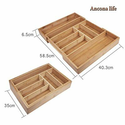 8 Compartment Drawer Organizer Large Expandable Cutlery Tray Utensil Bamboo Kitc
