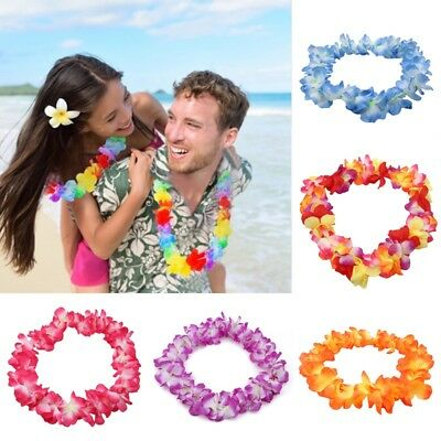 Hawaiian Tropical Luau Flower Leis Garland Necklace Beach Party Decoration
