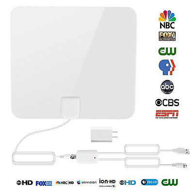 60 Mile Thin Flat Indoor HDTV Amplified HD TV Antenna 16FT Coax +Adapter