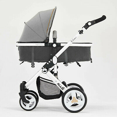 Allis Pushchair Pram Buggy Stroller Carry Cot RainCover Padded Liner From0+ Grey