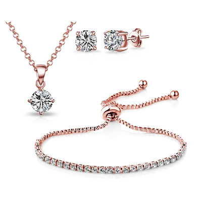 Rose Gold Solitaire Friendship Set with Crystals from Swarovski®