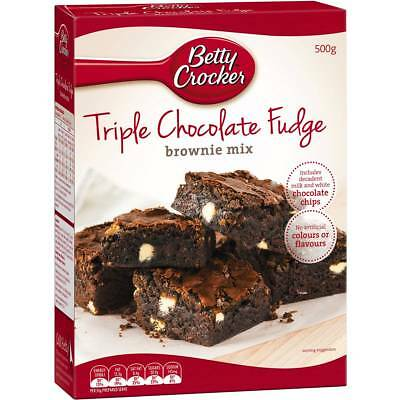 6x Betty Crocker Triple Chocolate Fudge Brownie Mix 500g