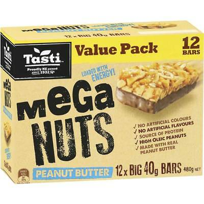 6x Tasti Nut Bar Value Pack Mega Nuts Peanut Butter 480g