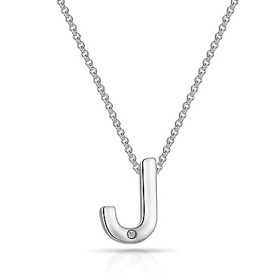 Initial Necklace Letter J Created with Swarovski® Crystals by Philip Jones