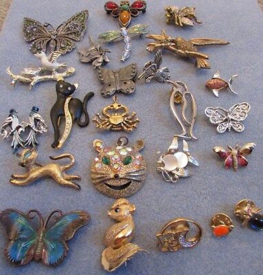 Vintage To Now Lot Of Figural Animals Pins & (Gerry's,avon,pewter,silver,enamel)