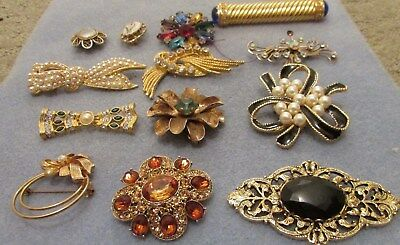 Vintage Lot Of Costume Jewelry Pins( Rhinestones, Faux Pearl & More)Korea