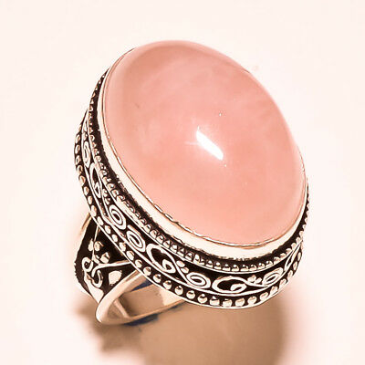 """Rose Quartz With Vintage Design Marvelous 925 Silver Jewelry Ring Size 8.50"""""""