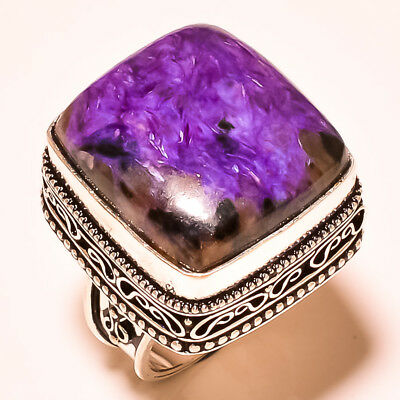 """Popular Russian Chraoite With Vintage Design 925 Silver Gemstone Ring S-6.75"""""""