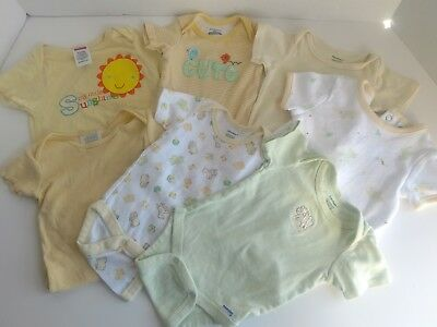 Lot of 7 Gender Neutral Baby clothes lot 0-3 months Yellow Green Onesies