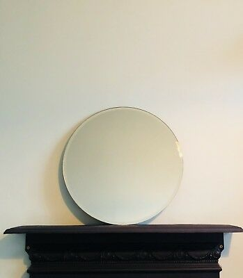 Large Vintage Bevelled Edge Round Mirror