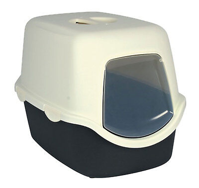 Trixie Diego Cat Litter Tray Grey & Cream 40x40x56cm Hood Cover Carbon Filter