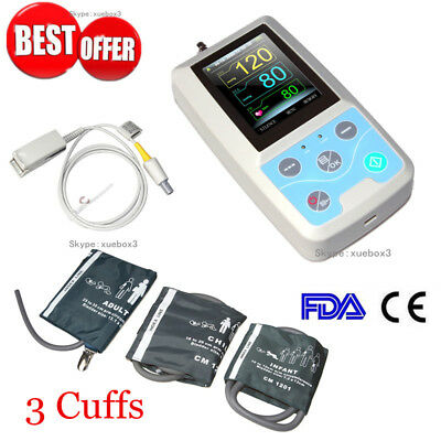 CONTEC PM50 Portable Blood Pressure NIBP/Spo2 Patient Monitor+3 Cuff+Probe FDA