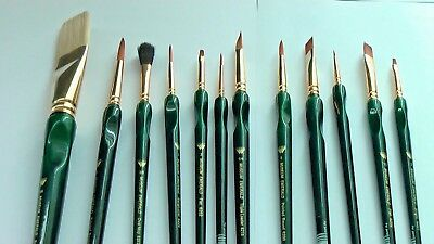 A Set of 12 Assorted Watercolour/Acrylic Brushes.