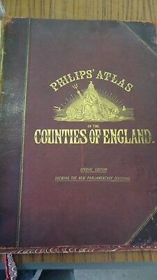 Genuine 1885 Philips Atlas of England County Map Various Counties Available