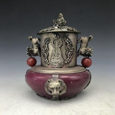 Collection of Chinese Tibetan silver hand carving guanyin jade incense burner.