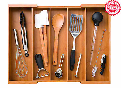 Bamboo Expandable 5 Large Compartment Adjustable Cutlery Drawer Tray Organizer