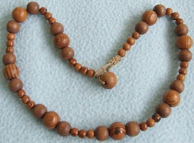 Vintage 1970s Rustic Natural WOODEN Beaded NECKLACE - 44 cms