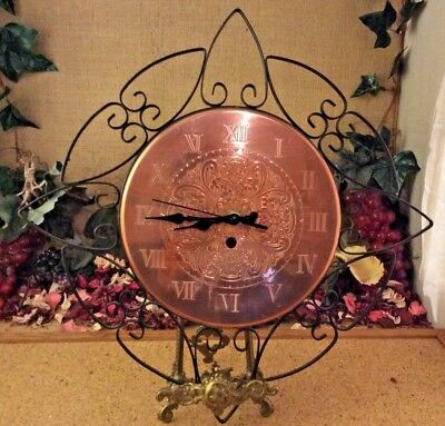 Vintage Solid Copper Faced Quartz Wall Clock Engraved Numerals 14 Inches