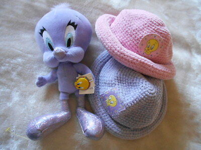 LOT OF 2 SOFT TWEETY BIRD BABY HATS Cap & Lavender PLUSH EASTER TOY Warner Bros