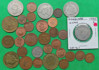 Lot of 30 Mixed Old Honduras Coins Central America !!