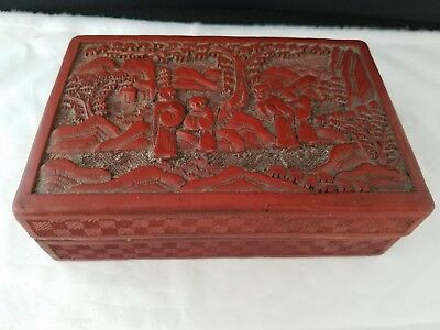 """Vintage  Chinese Carved Cinnabar Red Lacquer Storage Trinket Box 5.5×3.75×1.75""""h"""