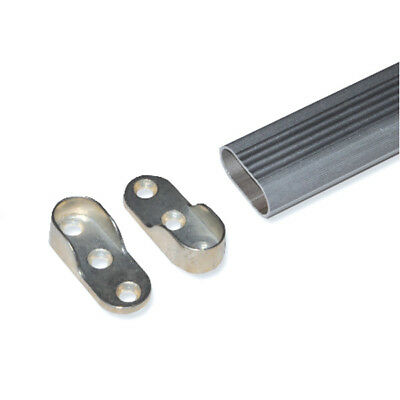 2X Oval Wardrobe Hanging Clothes Rail End Socket Support Bracket Silver Pair