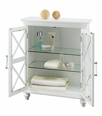 Champ Floor Cabinet with 2 Acrylic Wood magnet Doors 2 glass shelves White