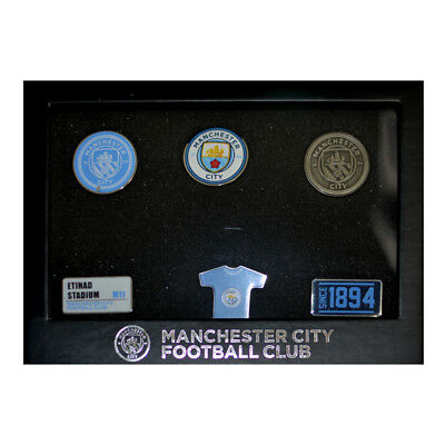Manchester City Fc 6 Piece Badge Set Club Enamel Crest Pin New Gift Xmas