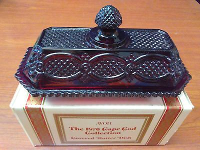 EUC AVON – Ruby Red, 1876 Cap Cod Collection COVERED BUTTER DISH